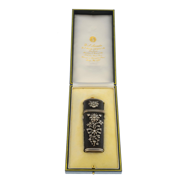 A Georgian silver and gold, diamond-set shagreen etui. - Image 2 of 4