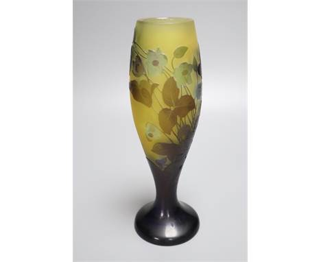 A Galle style cameo glass vase, acid etched floral design with engraving, 24cm