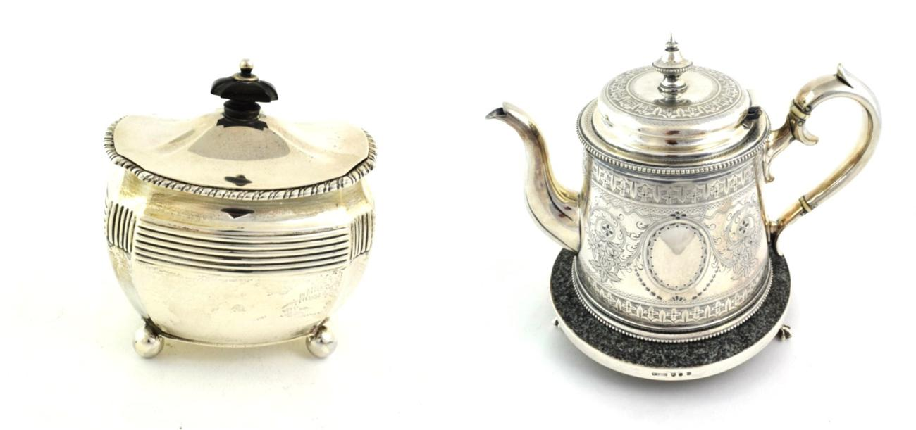Lot 56 - A Victorian Scottish Silver Tea-Caddy, by Hamilton and Inches, Edinburgh, 1898, with hinged cover