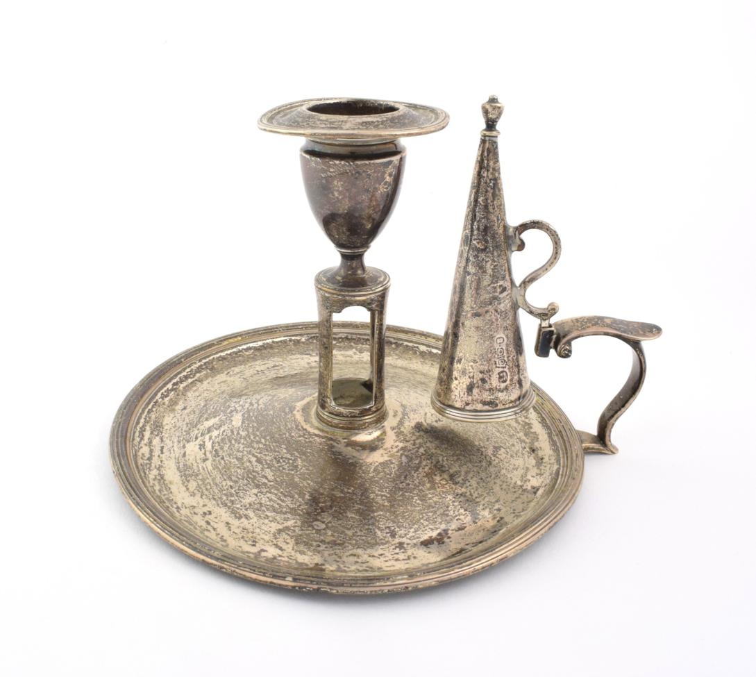 Lot 29 - A George III Silver Chamber-Candlestick, by Henry Chawner and John Emes, London, 1797, circular