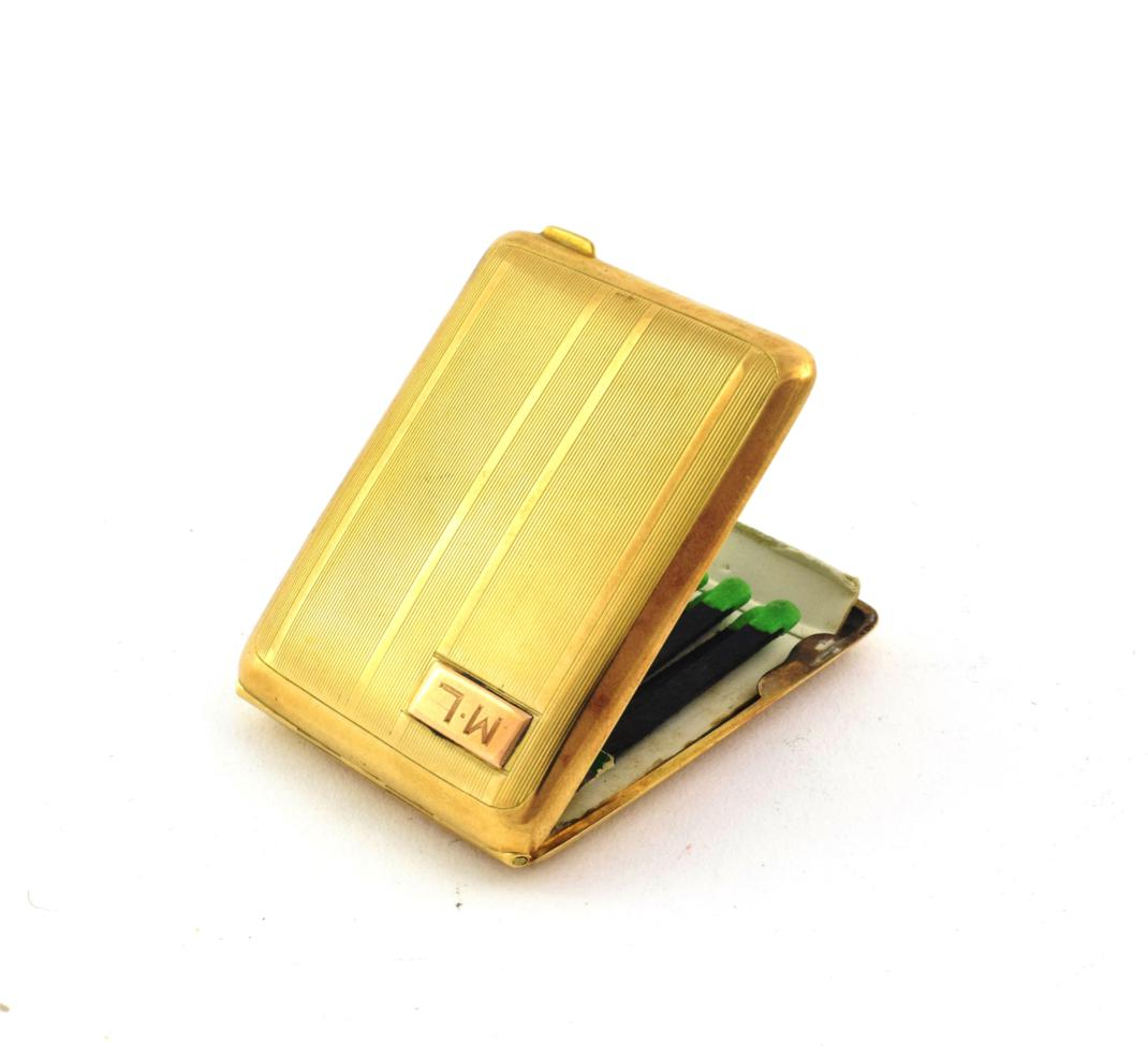 Lot 20 - A George V Gold Match-Box Case, by Adie Brothers, Birmingham, 1929, 9ct, oblong, the base and hinged