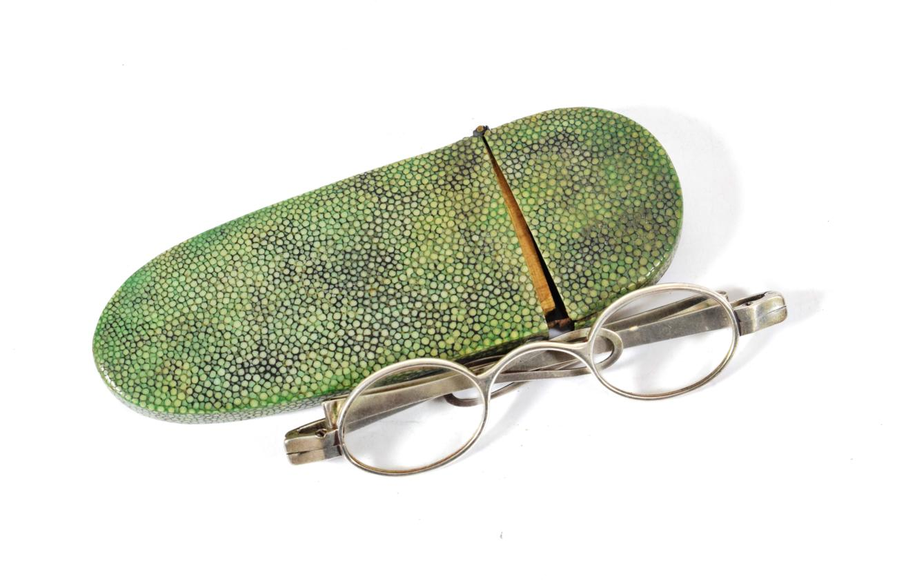 Lot 37 - A Pair of George III Silver Spectacles, maker's mark IS incuse, London, 1792, with oval lenses and