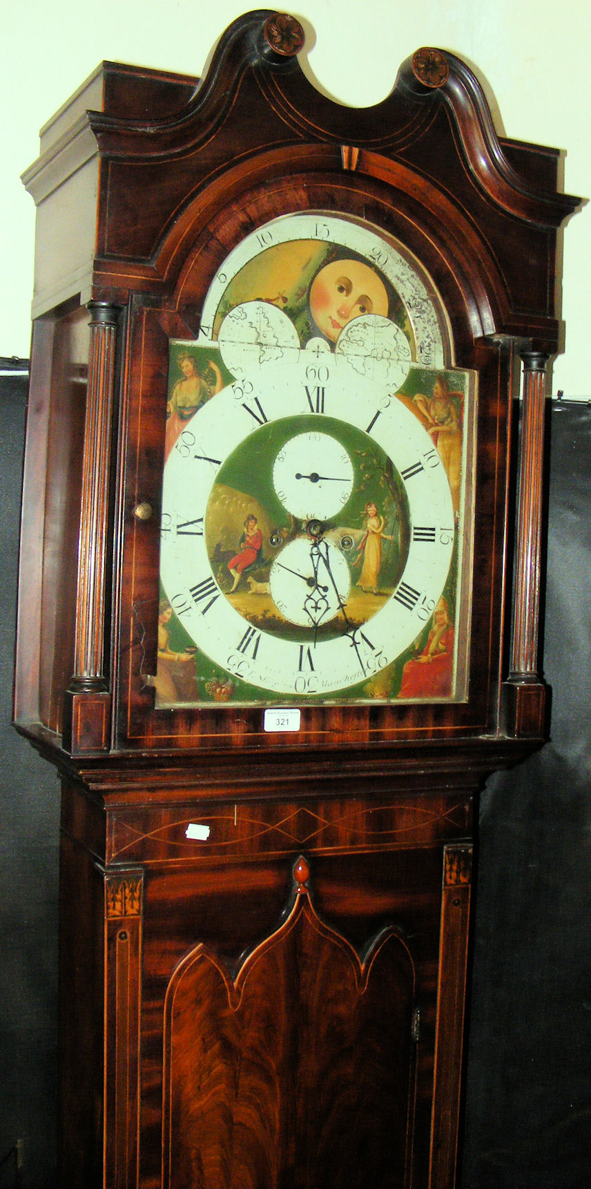 An antique mahogany cased 8 day grandfather clock with rolling lot 321 an antique mahogany cased 8 day grandfather clock with rolling moon face amipublicfo Image collections