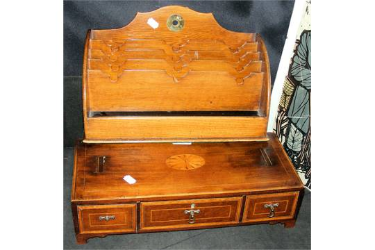 - Antique Desk Tidy, Together With A Three Drawer Converted Chest
