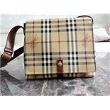 Authentic BURBERRY HAYMARKET CHECK MESSENGER BAG Beige and multicolor Haymarket Check coated