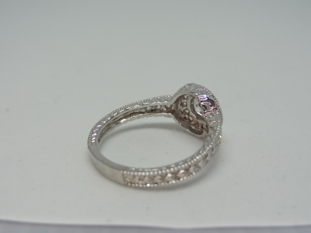 Ring Halo design ring with high grade cubic zirconia 10k white gold Size: N 1/2 . - Image 3 of 5