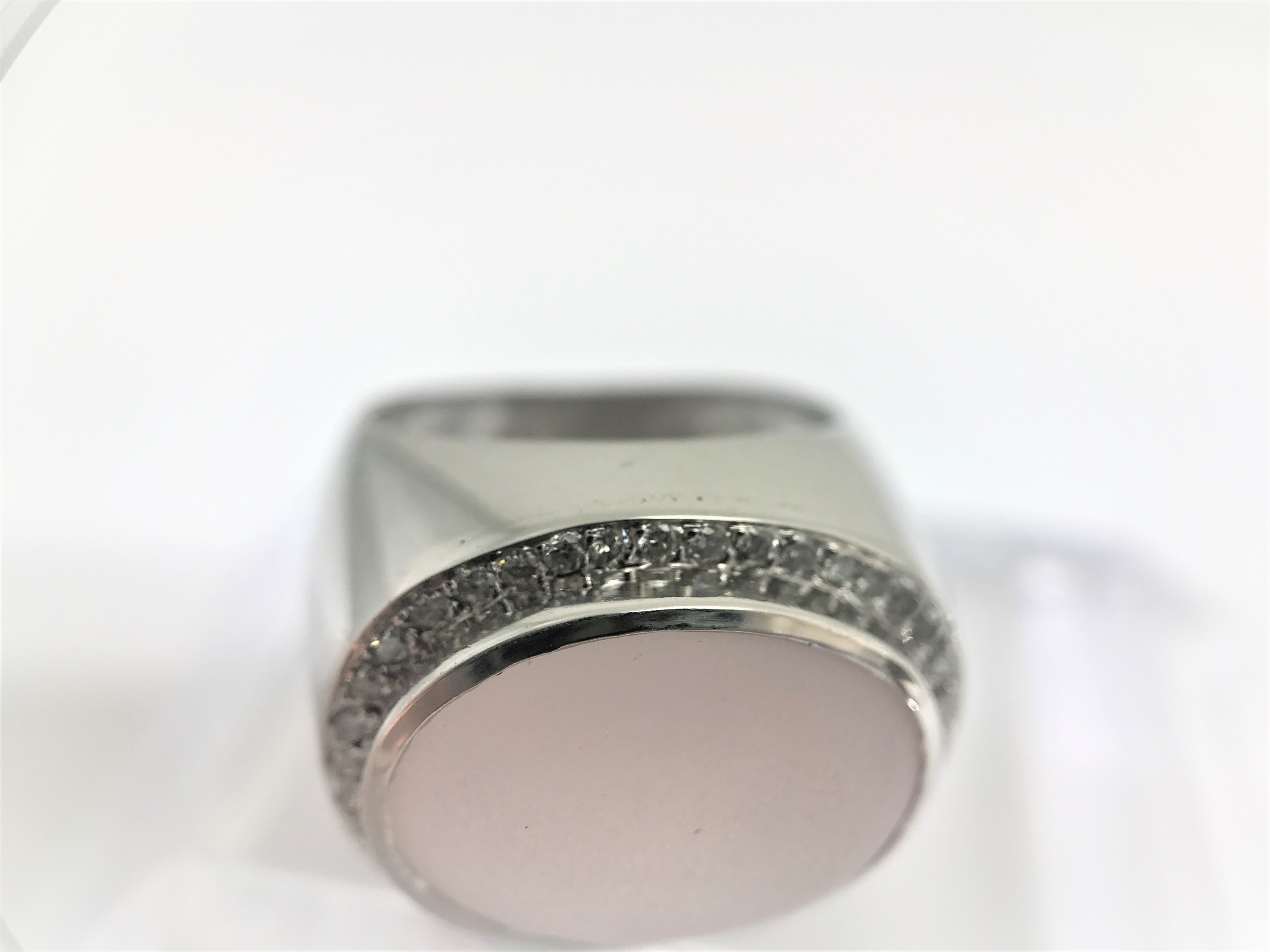 Modern coktail ring with a milky rose quartz in halo design set in 18k white gold. 40 diamonds. Size - Image 2 of 4