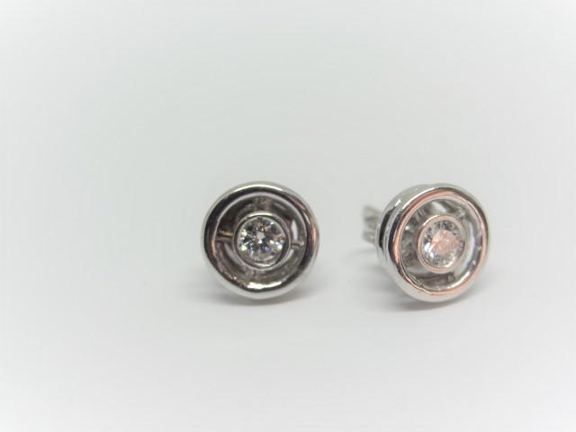 14k white gold Earring Studs 2.3 gr 8mm diameter each Approx.