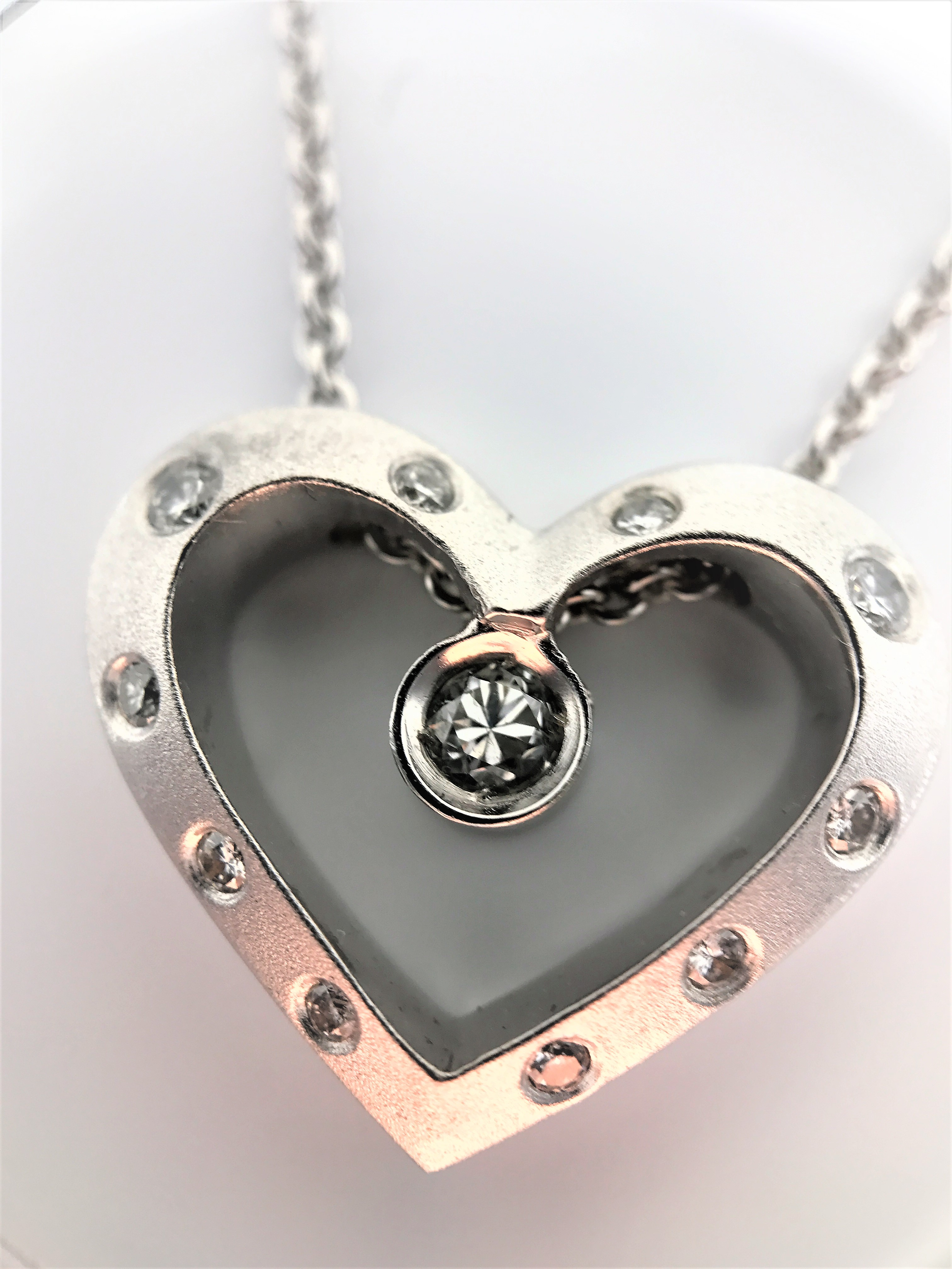 "Lot 43 - 14k brushed white gold Necklace 16"" 14k white gold chain diamonds diamond"