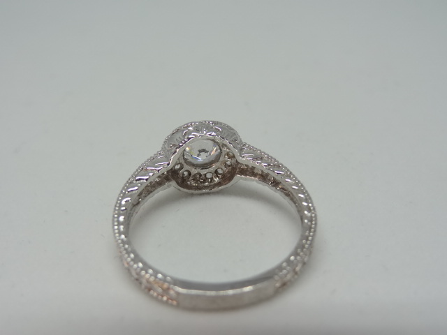 Ring Halo design ring with high grade cubic zirconia 10k white gold Size: N 1/2 . - Image 2 of 5