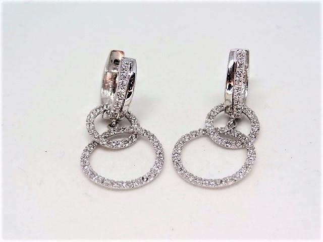 18k white gold earring 5.1 gr Approx. 50 diamonds per earring - Image 2 of 3
