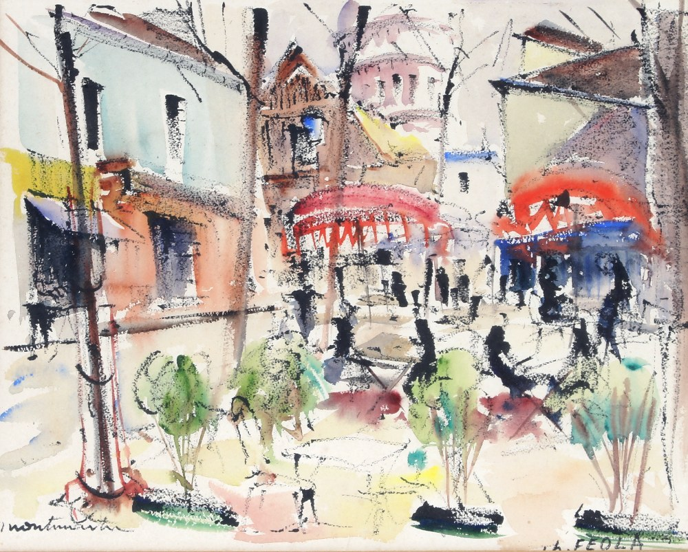 Lot 299 - Charles Feola (French), studies of Mont Matre a pair , signed and inscribed watercolours, 23cm x