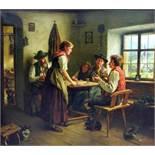 Emil Rau, 1858 Dresden – 1937 ebendaÖl/Leinwand. Nach der Rückkehr eines Jägers w