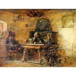 InterieurstudieÖl/Holz. In einer dunklen Wohnstube sitzen drei Personen vor einem Kac