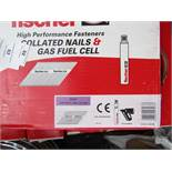 A Box that contains 2200 Fischer collated nails and 2x gas fuel cells, new and boxed.
