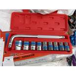 10 Piece MLG Tools socket set with L type handle, new and boxed
