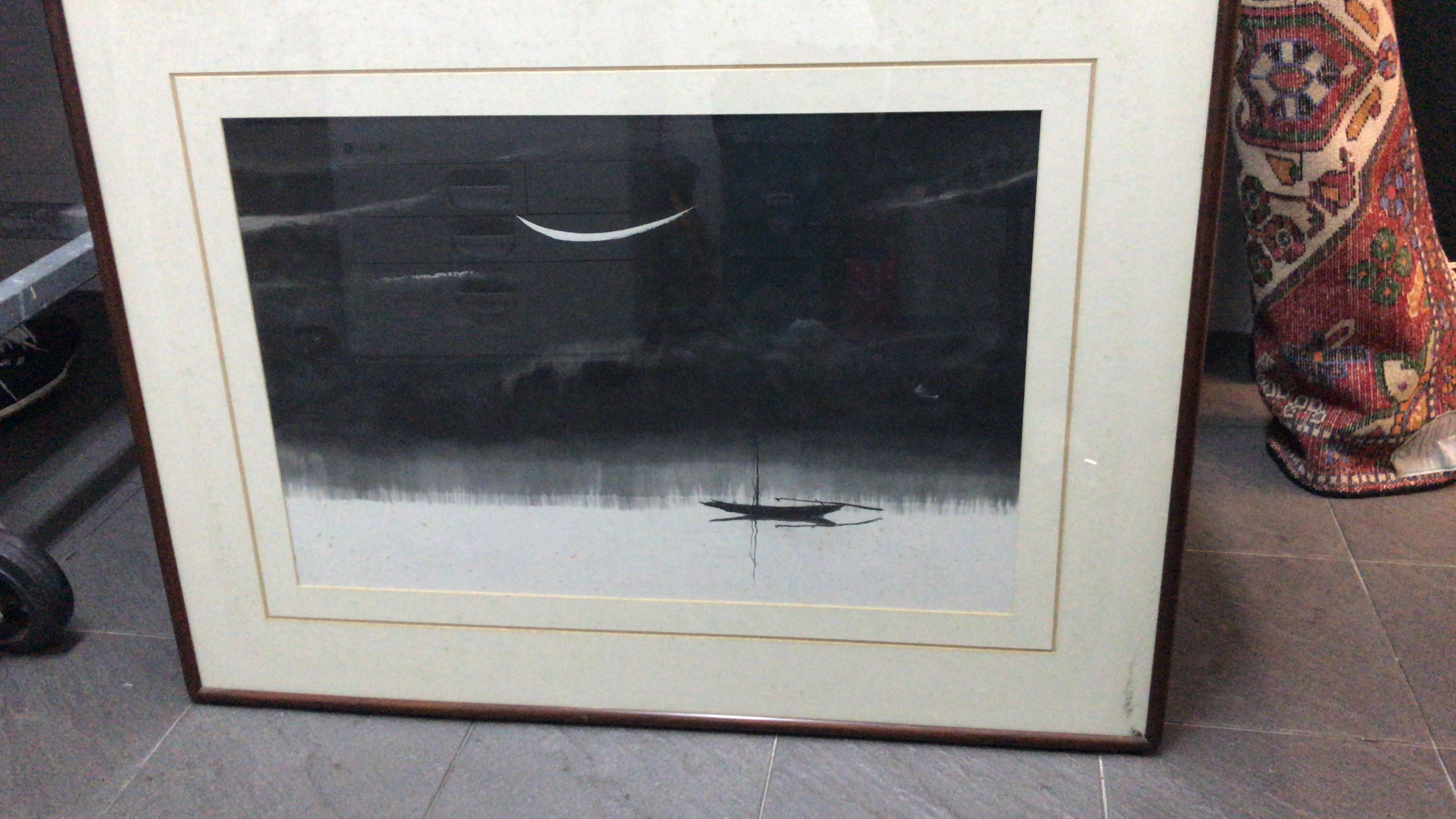 Lot 22 - CIRCLE OF JIA YOUFU (CHINESE, B.1941) - FISHING BOAT IN THE MOONLIGHT