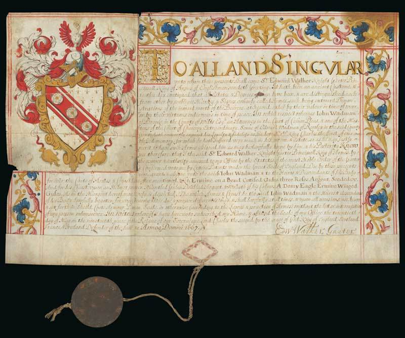 Lot 5 - DocumentsKing Charles II1667 (20 May) a Grant of Arms issued by Sir Edward Walker, Garter King of