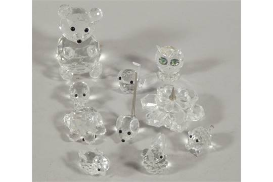 d92f45e52 Ten Swarovski crystal animal ornaments, to include a turtle, two ...