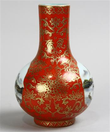 Lot 5003 - Chinese enameled porcelain vase, with a stickneck and the globular body with two riverside landscape