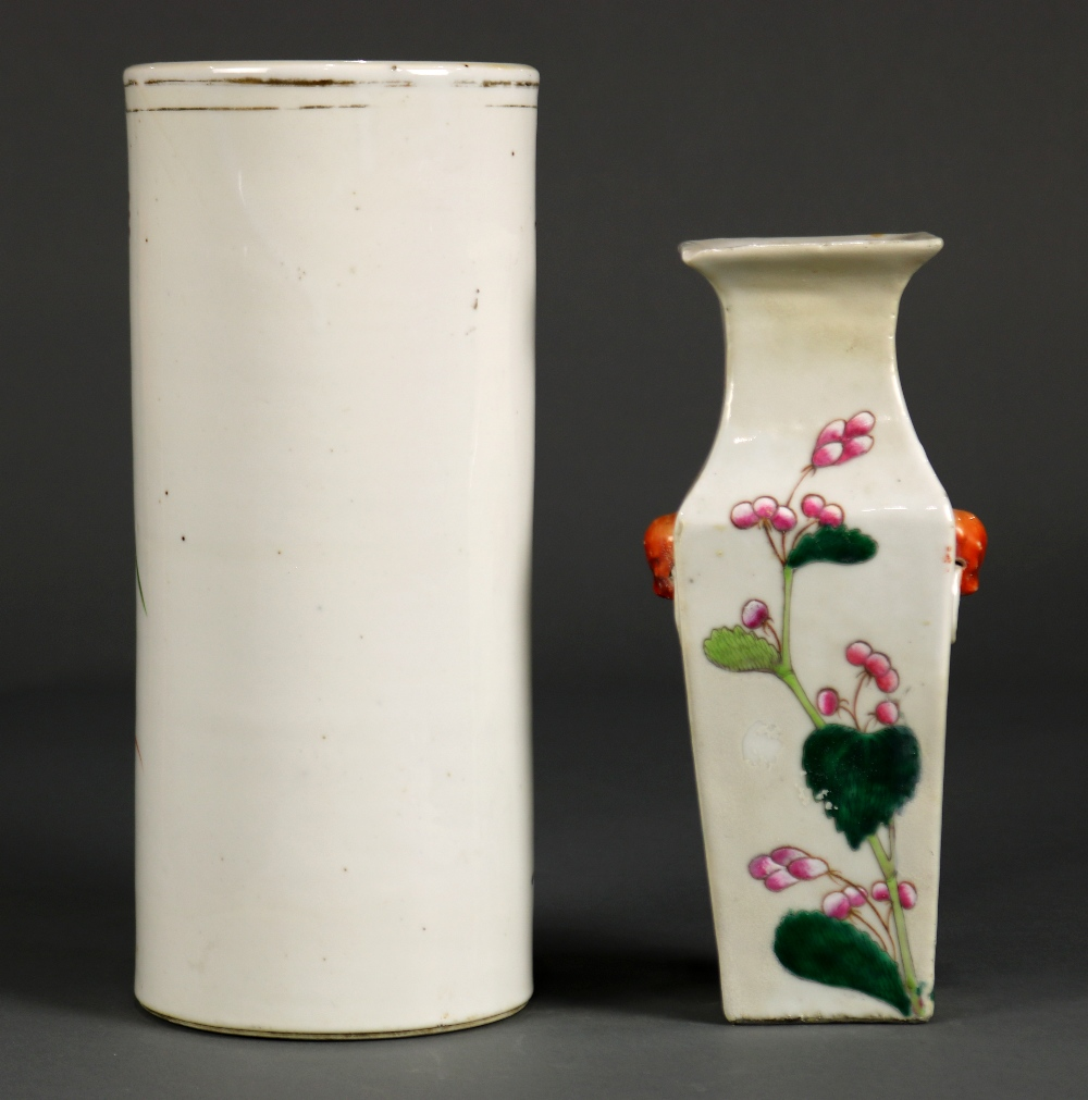 Lot 5000 - (lot of 2) Group of Chinese porcelain: the first, a square sectioned baluster vase with peonies
