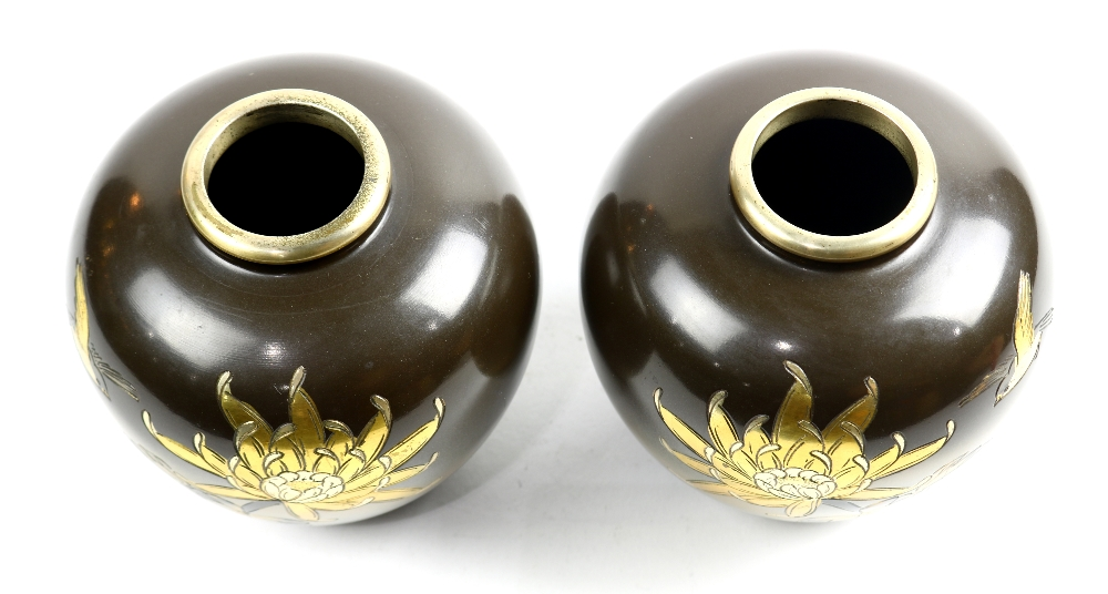Lot 5059 - (lot of 2) Japanese pair of mixed metal vases, chrysanthemum and bird in silver and gilt color,