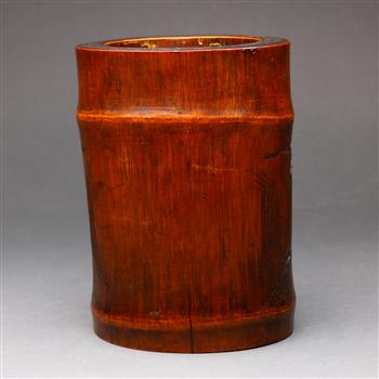 """Lot 5045 - Chinese bamboo brush pot, carved with figures on a boat in a river, backed by tall rocky cliffs, 7"""""""