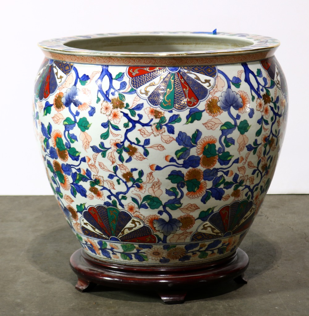 Lot 5112 - Chinese large porcelain fish bowl, the exterior with flowering branches, in contrast with the