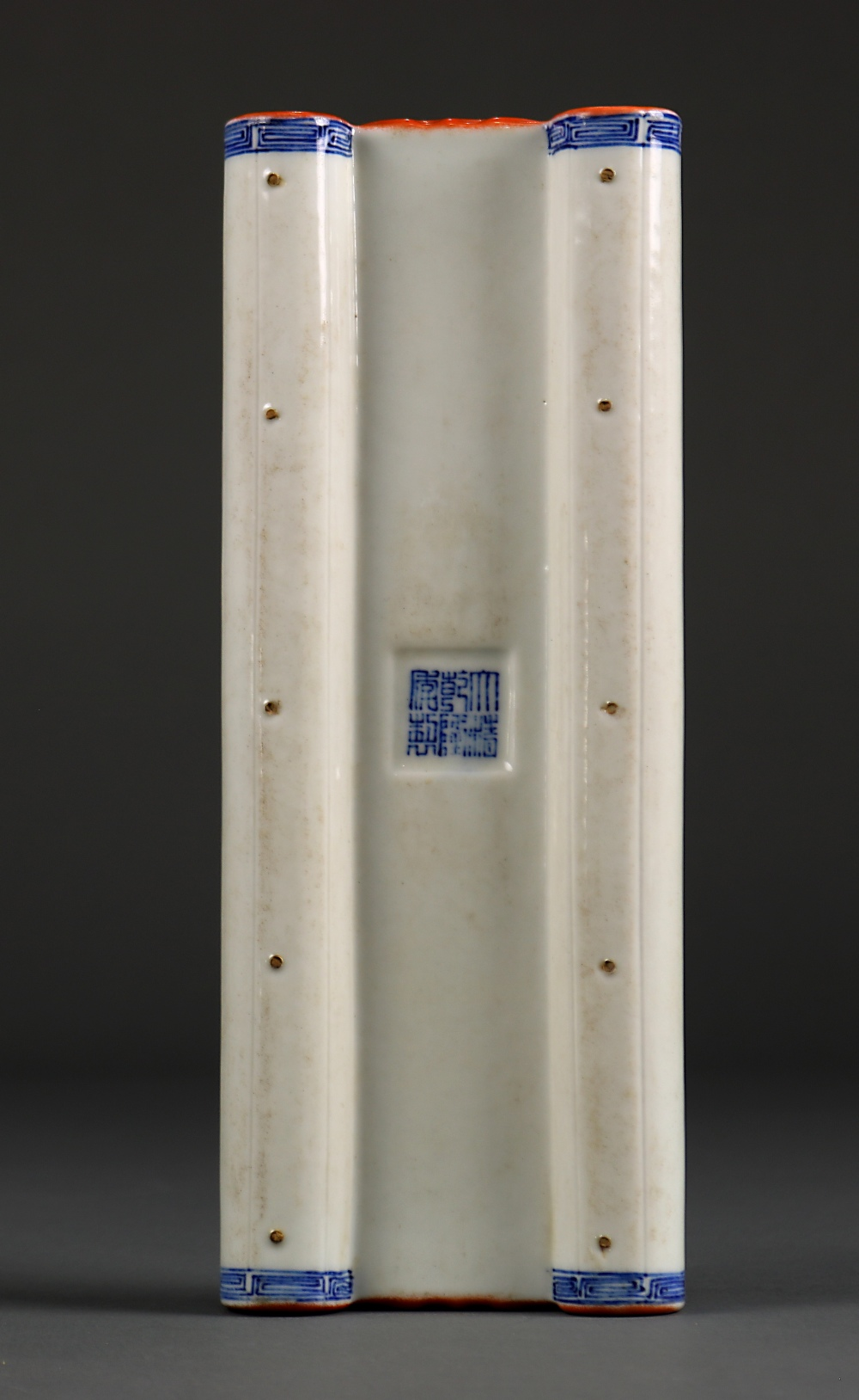 Lot 5013 - Chinese porcelain wrist rest, in the form of a scroll, the text followed by the cyclical date