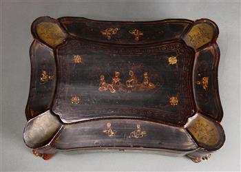 Lot 5058 - Chinese export lacquered sewing box, with exterior decorated with flowers, the interior with small