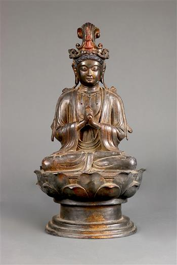 Lot 5024 - Chinese gilt lacquered bronze Buddhist sculpture, the bodhisattva dressed in princely raiments,