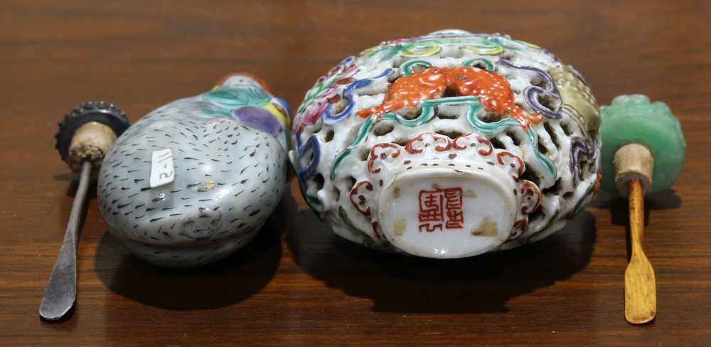 Lot 5056 - (lot of 3) Chinese porcelain snuff bottles, 19th/20th century, first, molded in the form of a