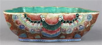 Lot 5002 - Chinese enameled porcelain butterfly form bowl, of conforming shape, with turquoise interior and