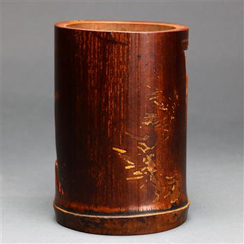 Lot 5048 - Chinese bamboo brush pot, carved and pierced with a pair of cranes below a gnarled pine tree,