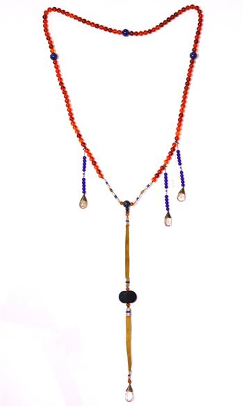 Lot 5031 - Chinese court-style necklace, with spherical amber beads, accented by three shorter side strands