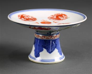 Lot 5009 - Chinese porcelain footed dish, with four dragon roundels in red encircling a jewel at the center,
