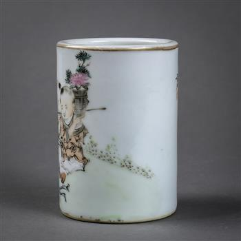 Lot 5006 - Chinese enameled porcelain brush pot, with four children seated in a garden depicted in the