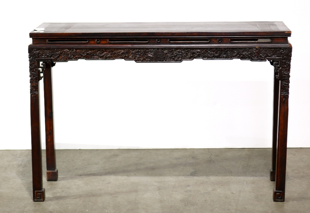 Lot 5092 - Chinese wooden altar table, with two floating panels on top above a slotted waist and an apron