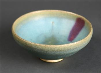 Lot 5026 - Chinese Jun-type ceramic bowl, with a purple streak on the pale blue glaze, stopping above the