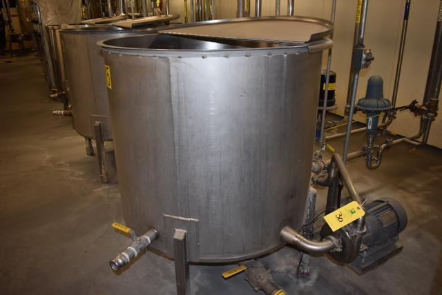 "Lot 30 - Stainless Steel Tank w/Lid, 42"" Diameter x 36"" Depth, Motor & Circulating Pump, Tank Sensor, SS"