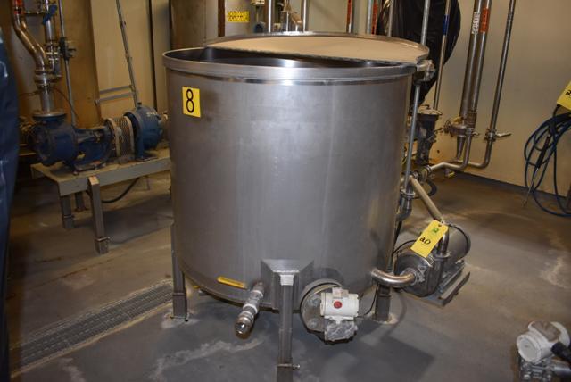 "Lot 20 - Stainless Steel Tank w/Lid, 42"" Diameter x 36"" Depth, Motor & Circulating Pump, Tank Sensor, SS"