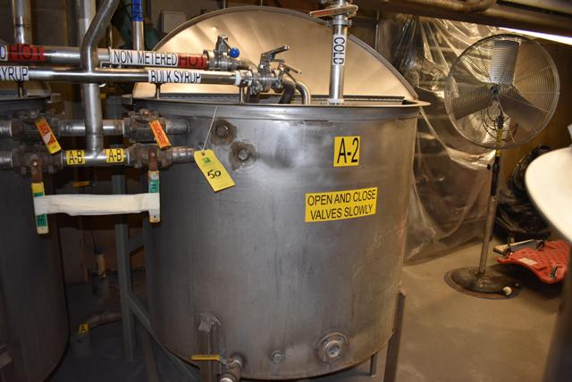 """Lot 50 - Stainless Steel Tank, 48"""" Diameter x 42"""" Depth/330 Gallon Capacity, Includes Motorized Mixer, ID A-"""