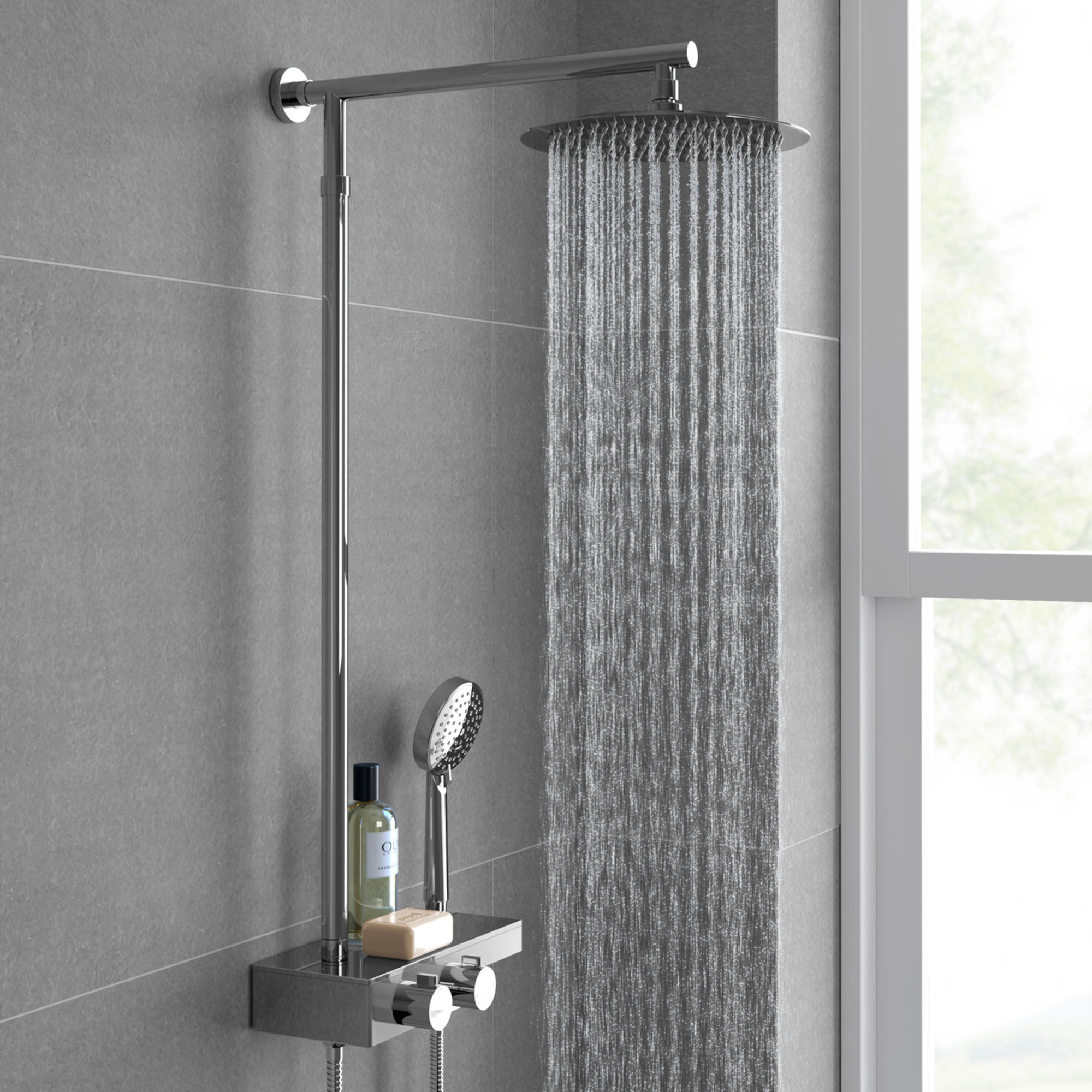 Lot 40 - (SP28) Round Exposed Thermostatic Mixer Shower Kit & Large Head. Cool to touch shower for additional