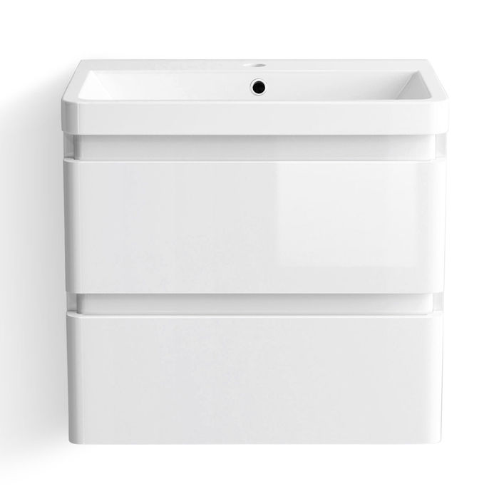 Lot 55 - (SP40) 600mm Denver Gloss White Built In Basin Drawer Unit - Wall Hung. RRP £499.99. Comes