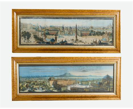 Italian Artist around 1800, Two perspective views of Rome from the Piazza del Popolo and Neaples, watercolour on paper, frame
