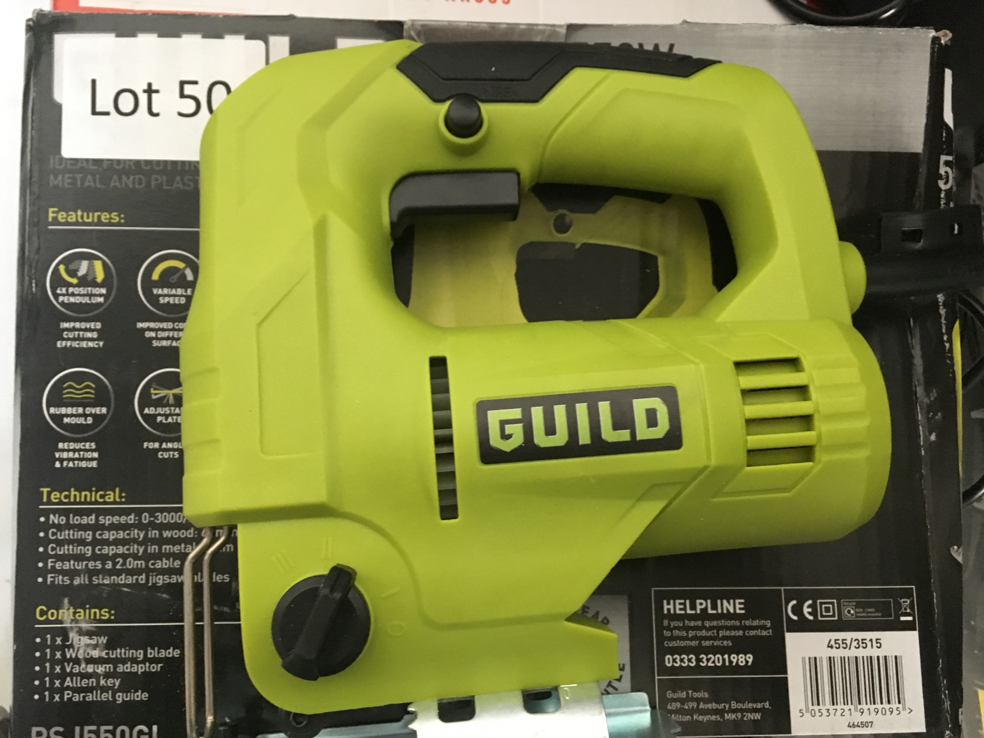 Lot 50 - Guild 550W jigsaw. Working, bad packaging.