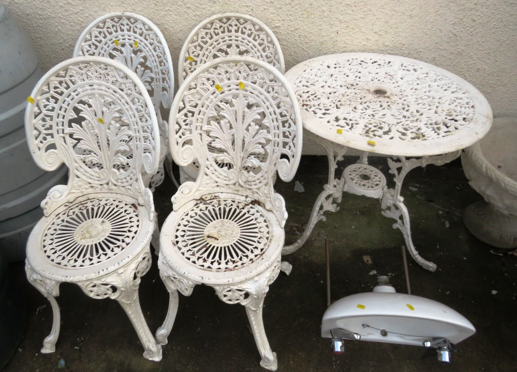 Lot 15 - WHITE PAINTED CAST METAL GARDEN TABLE AND FOUR MATCHING CHAIRS