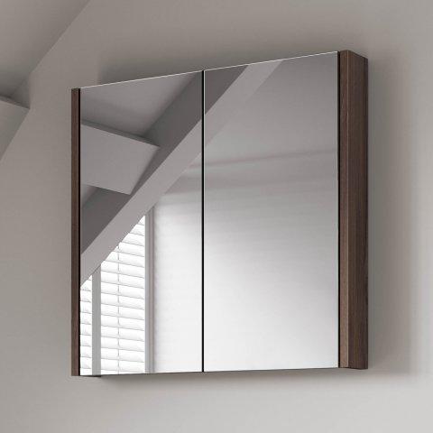 Sku360 600mm walnut effect double door mirror cabinet for Double mirror effect