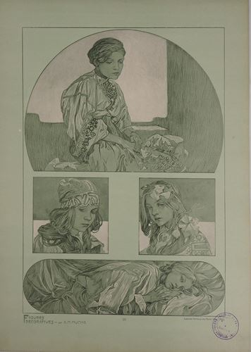 Los 2 - Alphonse MUCHA Portraits of young girls, 1902 Lithograph Signed in the plate On [...]