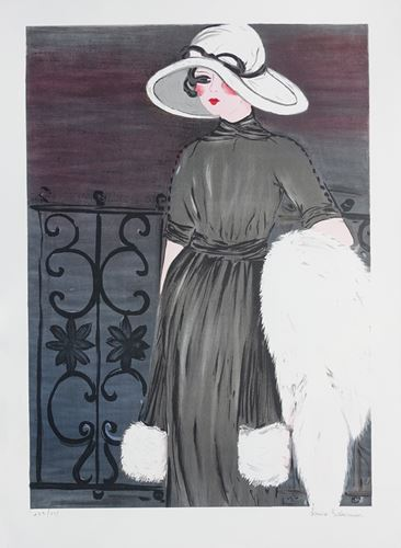 Los 18 - Louise SALOMON Elegant Lady at the balcony Original lithograph Signed in [...]